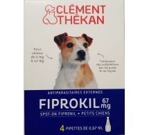 FIPROKIL SPOT-ON PETIT CHIEN 67 mg - 2- 10kgs - 4 pipettes